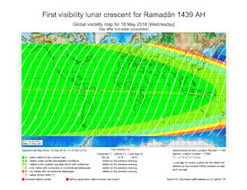 Visibility Map for Ramadan 1439 AH (b)