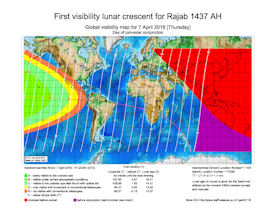Visibility Map for Rajab 1437 AH (a)