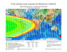 Visibility Map for Muharram 1438 AH (a)
