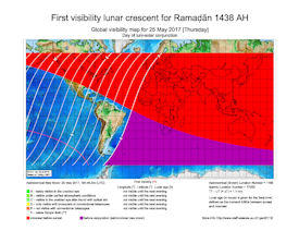 Visibility Map for Ramadan 1438 AH (a)