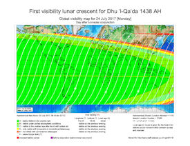 Visibility Map for Dhul Qaidah 1438 AH (b)