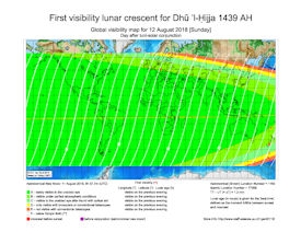 Visibility Map for Dhul Hijjah 1439 AH (b)