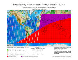 Visibility Map for Muharram 1440 AH (a)
