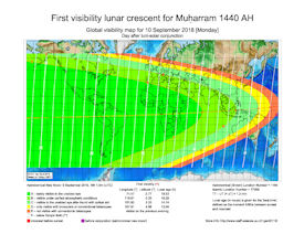 Visibility Map for Muharram 1440 AH (b)