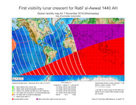 Visibility Map for Rabi-ul Awwal 1440 AH (a)