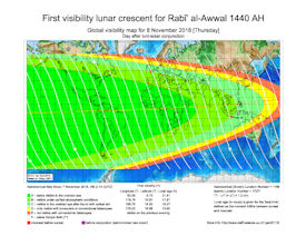 Visibility Map for Rabi-ul Awwal 1440 AH (b)