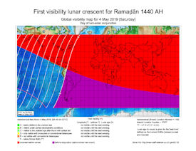 Visibility Map for Ramadan 1440 AH (a)