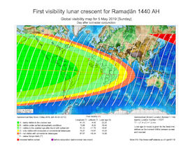 Visibility Map for Ramadan 1440 AH (b)