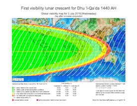 Visibility Map for Dhul Qaidah 1440 AH (b)
