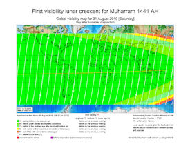 Visibility Map for Muharram 1441 AH (b)