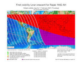 Visibility Map for Rajab 1442 AH (a)
