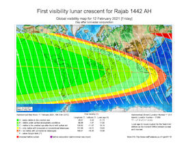 Visibility Map for Rajab 1442 AH (b)