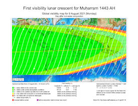 Visibility Map for Muharram 1443 AH (b)